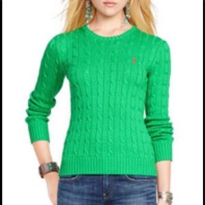 Ralph Lauren green cable knit sweater with pink